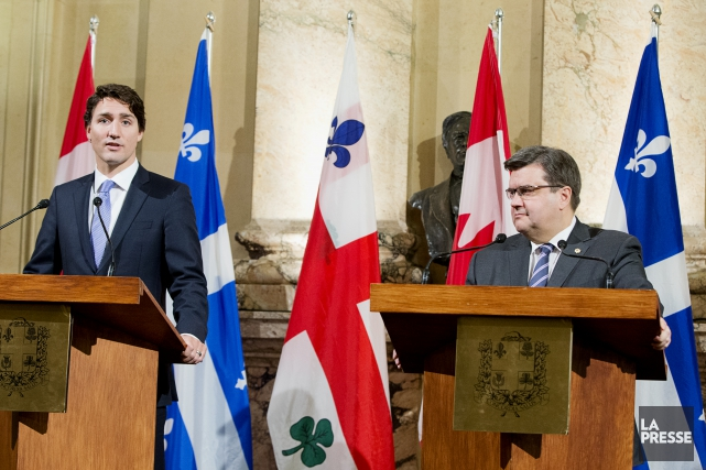 Justin Trudeau et Denis Coderre... (PHOTO ALAIN ROBERGE, LA PRESSE)