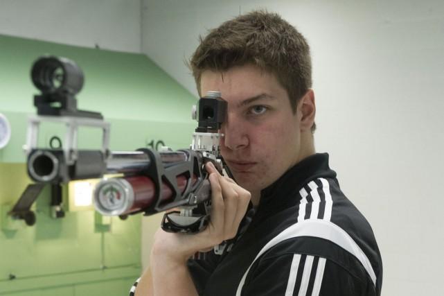 Frédéric Lemoine est le champion provincial au tir... (Stéphane Lessard)