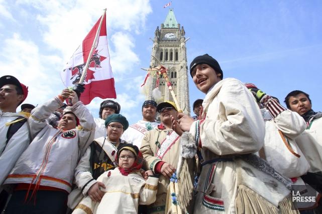 En 2013, un groupe de jeunes autochtones avait... (Fred Chartrand, Archives PC)