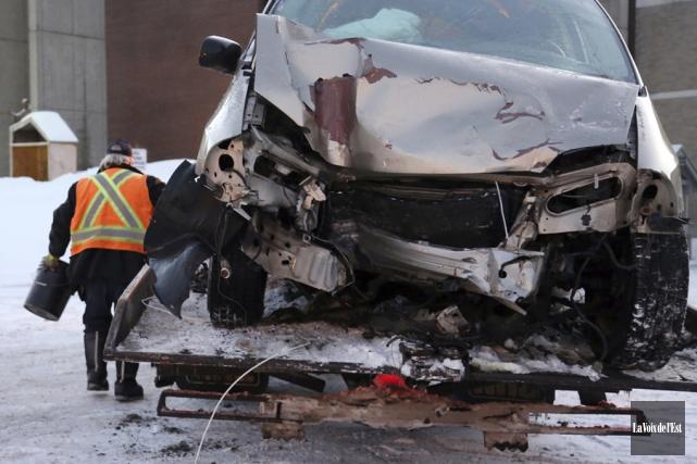 Une collision a fait deux blessés mercredi au... (Christophe Boisseau-Dion, La Voix de l'Est)