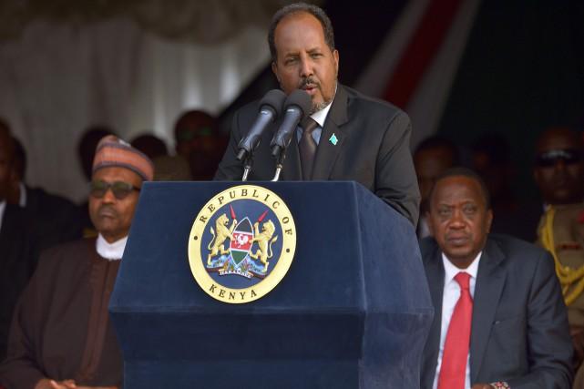 Le président somalien,Hassan Sheikh Mohamoud... (PHOTO TONY KARUMBA, AFP)