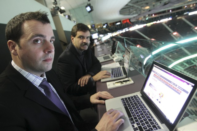 Mon collègue Sylvain St-Laurent et moi sur la... (Patrick Woodbury, Archives LeDroit)