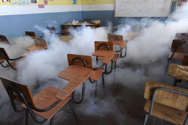 Dans les écoles du Honduras, on procédait lundi... (AFP, Orlando Sierra)