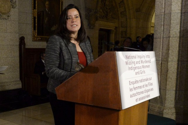 La ministre de la Justice Jody Wilson-Raybould... (Archives, La Presse Canadienne)