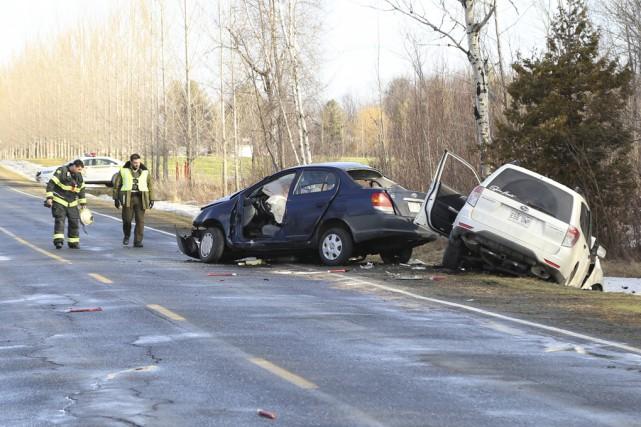 La jeune conductrice n'a eu aucune chance lorsqu'elle... (photo Janick Marois)