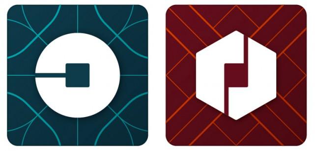 Les nouveaux logos d'Uber... (PHOTO fournie par l'entreprise)