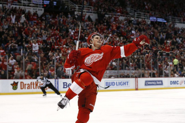 Dylan Larkin célèbre son but.... (PHOTO PAUL SANCYA, AP)