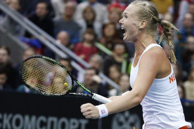 Kiki Bertens célèbre sa victoire contre Svetlana Kuznetsova.... (PHOTO GRIGORY DUKOR, REUTERS)