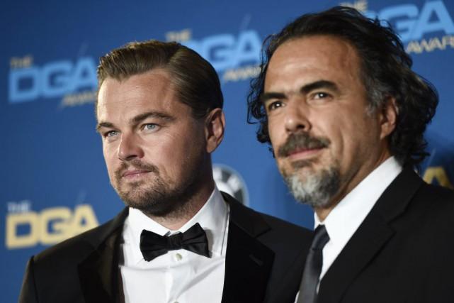 Accompagné de Leonardo DiCaprio, vedette de Le revenant,... (AP, Chris Pizzello)