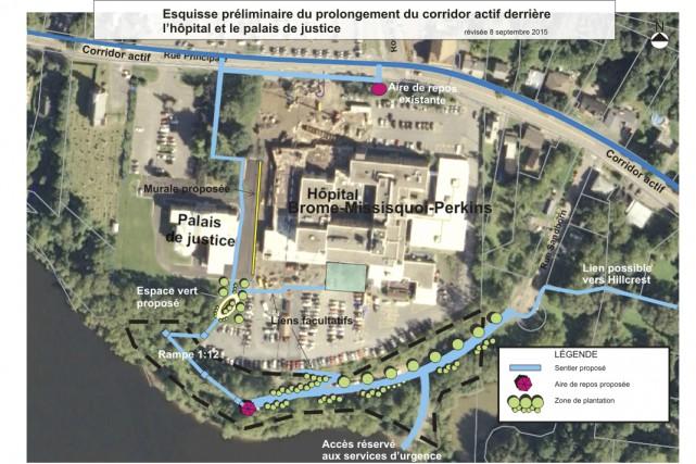 Un sentier pédestre sera aménagé par la Ville... (illustration fournie par la Ville de Cowansville)