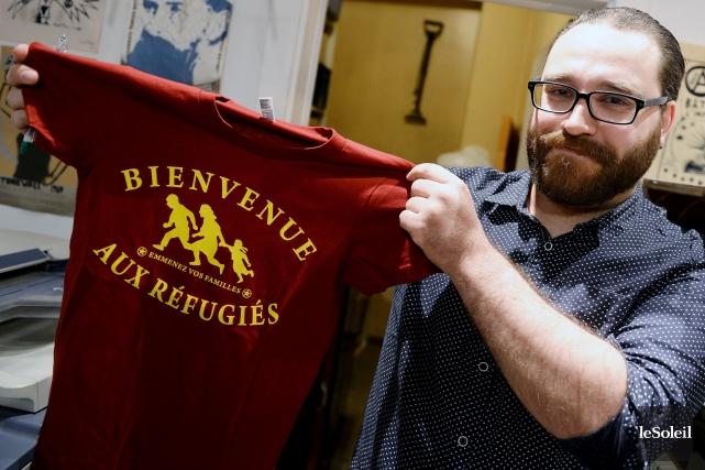 François Deschamps, l'instigateur du projet des t-shirts «Bienvenue... (Le Soleil, Erick Labbé)