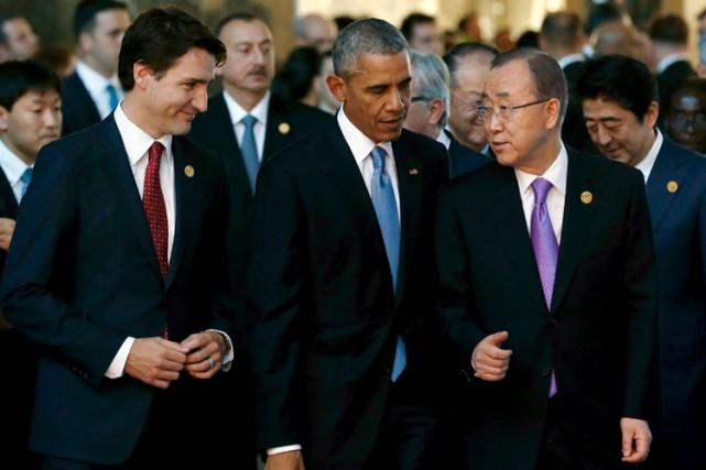 Justin Trudeau aux côtés de Barack Obama etBan... (PHOTO ARCHIVES REUTERS)