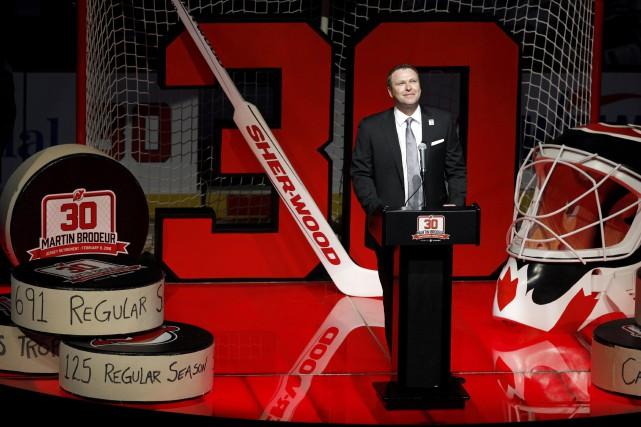 Martin Brodeur a été honoré par les Devils,... (AP, Mel Evans)