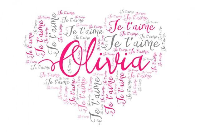 Un nuage de mots doux en forme de coeur mettant en vedette un ou des prénoms. (Fournie par Logo Création)