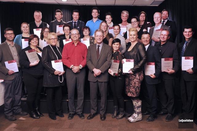 Le maire de Saguenay, Jean Tremblay (au centre),... ((Photo Le Quotidien-Rocket Lavoie))