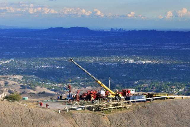 La fuite massive de méthane émanant d'un puits gazier dans un quartier de Los... (Photo archives AP)