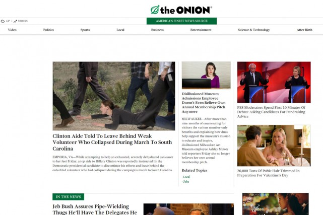 Le journal satirique The Onion est devenu 100%... (CAPTURE D'ÉCRAN)