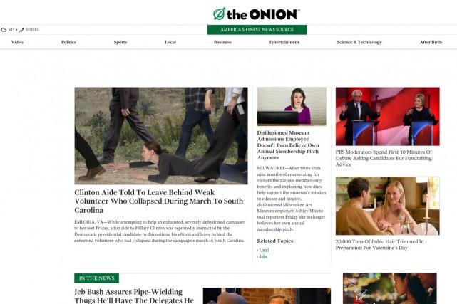 Le journal satirique The Onion est devenu 100%... (CAPTURE D'ÉCRAN)