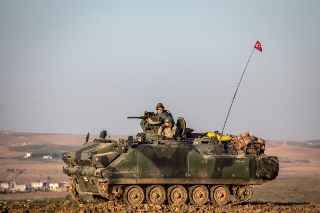 Un char d'assaut de l'armée turque.... (PHOTO AP)