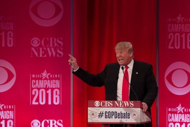 Donald Trump, lors du neuvième débat républicain de... (AFP, JIM WATSON)