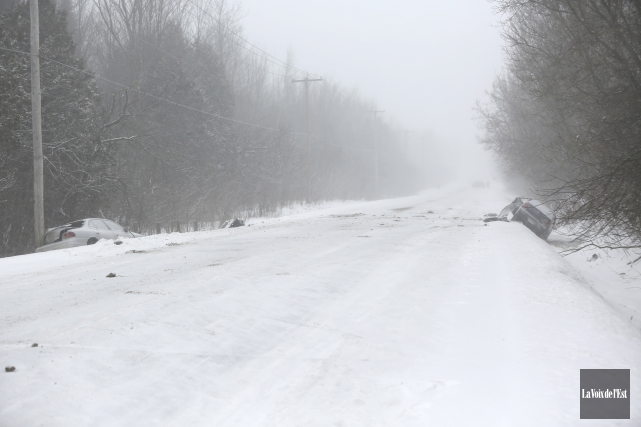 La collision mortelle est survenue vers 7h30 samedi,... (Julie Catudal, La Voix de l'Est)