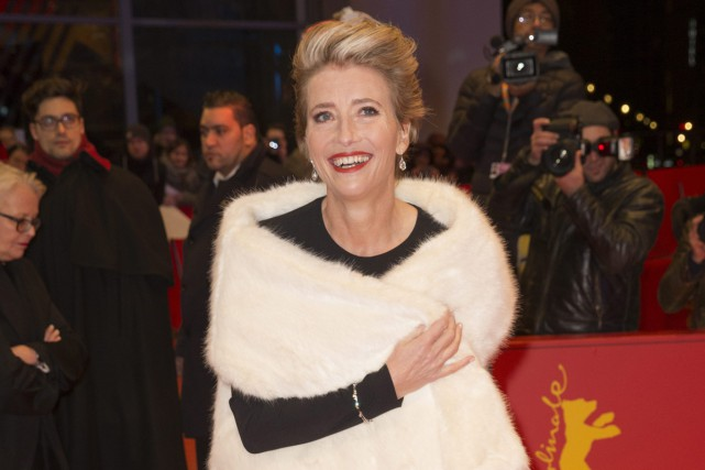 Emma Thompson sur le tapis rouge du film... (PHOTO AP)
