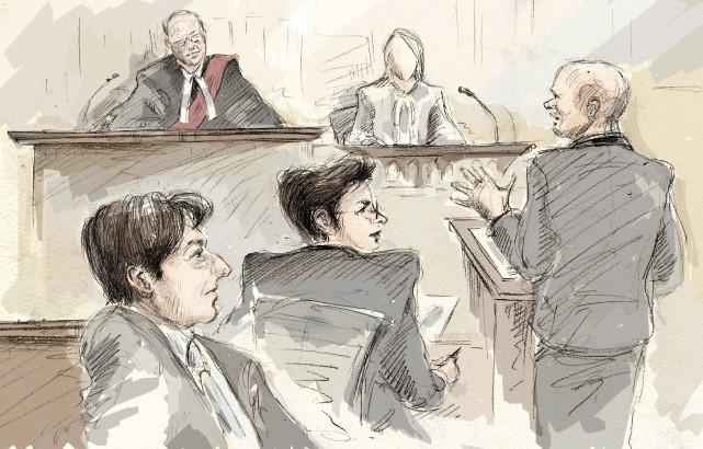 Jian Ghomeshi (à gauche), en compagnie de son... (Illustration Alexandra Newbould, La Presse Canadienne)