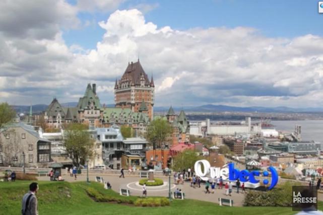Le nom Québec écrit en lettres géantes comme signe distinctif. Qu'en... (Image tirée d'une vidéo promotionnelle de Québec Émotion :))