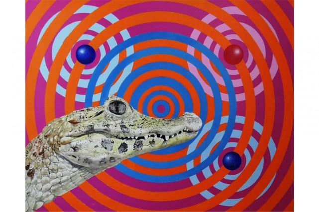 Le crocodile, 2012, de Serge Lemonde, acrylique sur... (PHOTO FOURNIE PAR LA GALERIE DU THÉÂTRE MAGOG-ART CONTEMPORAIN)