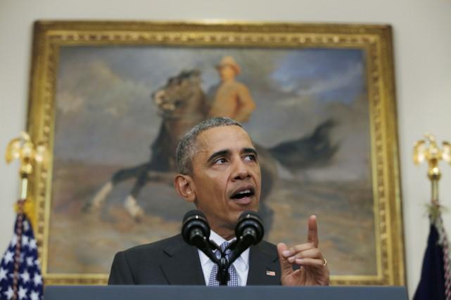 Le président Obama s'adresse à la presse depuis... (PHOTO CARLOS BARIA, REUTERS)