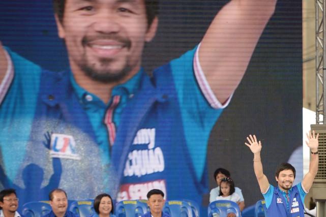 MannyPacquiao est déjà membre de la chambre des... (PHOTO TED ALJIBE, ARCHIVES AFP)