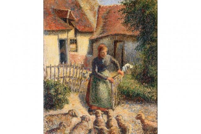 Bergère rentrant ses moutons de Camille Pissaro... (CAPTURE D'ÉCRAN)