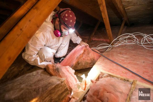 Inspection des combles d'une maison de Rivière-des-Prairies en... (PHOTO HUGO-SÉBASTIEN AUBERT, LA PRESSE)