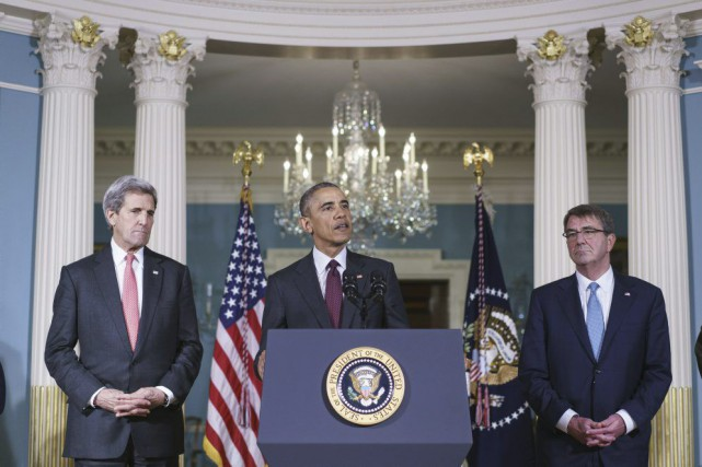 John Kerry, Barack Obama et Ashton Carter... (PHOTO MANDEL NGAN, ARCHIVES AGENCE FRANCE PRESSE)