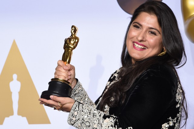 La réalisatrice pakistanaise Sharmeen Obaid Chinoy a remporté... (PHOTO AFP)