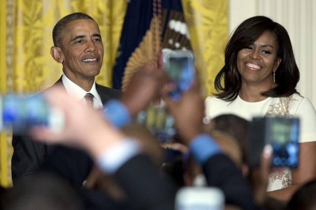 Barack et Michelle Obama lors d'un évènement à... (PHOTO AP)