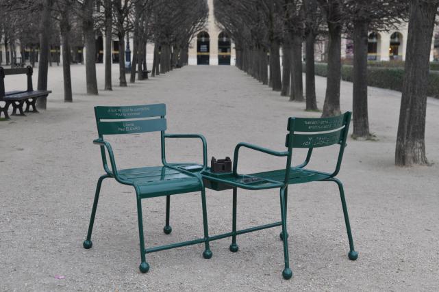 Les chaises-poèmes du jardin du Palais-Royal ont été... (PHOTO FOURNIE PAR L'ARTISTE)