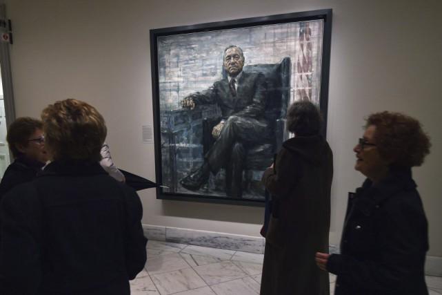 La peinture de Francis Underwood exposée dans la... (PHOTO AFP)