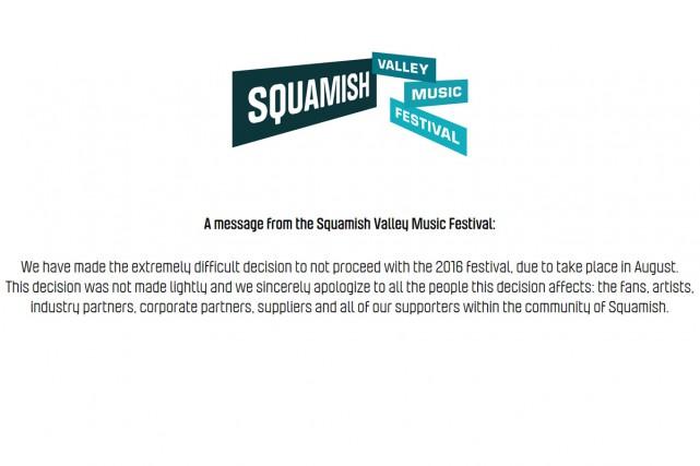 Le festival de musique de Squamish Valley, en Colombie-Britannique, a été... (CAPTURE D'ÉCRAN)