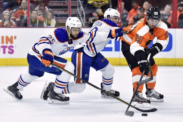 Sam Gagner, Darnell Nurse et Brandon Davidson jeudi... (Photo Eric Hartline, USA Today Sports)