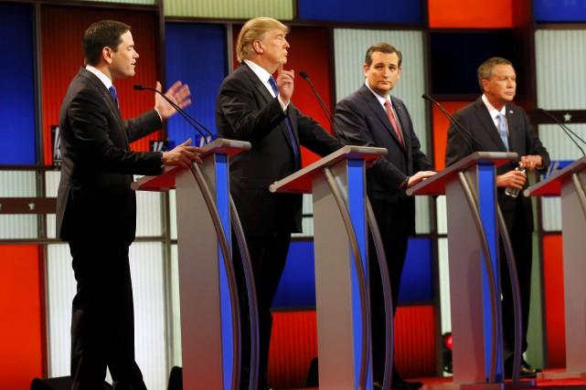 Les candidats à l'investiture républicaine Marco Rubio, Donald... (AP, Paul Sancya)