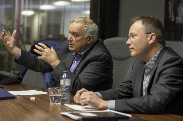 Roger Noël, président-directeur général, et Ghyslain Goulet, vice-président... (Spectre Média, Frédéric Côté)