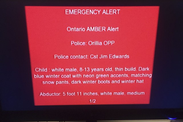 L'alerte Amber n'a été diffusée qu'en anglais dimanche... (Courtoisie)