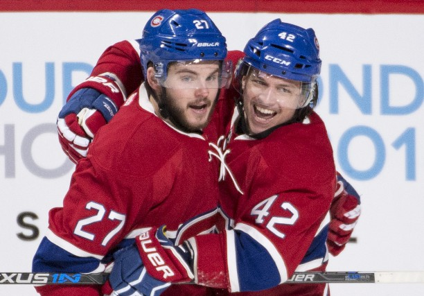 Alex Galchenyuk (27) célèbre son premier but de... (La Presse Canadienne, Graham Hugues)