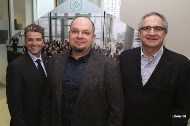 Luc Ménard, Frédérick Côté et Éric Tétrault ont... (Janick Marois, La Voix de l'Est)