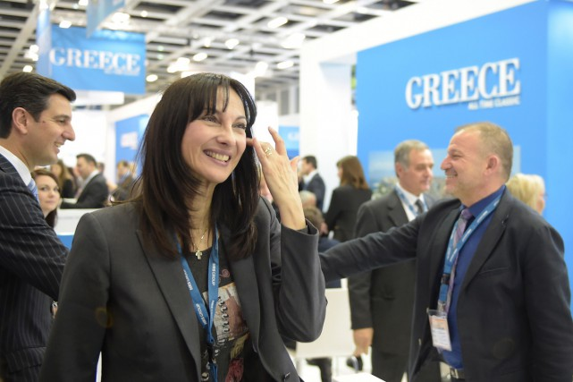 Elena Kountoura, ministre grecque du Tourisme.... (PHOTO AFP)