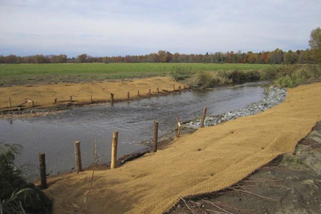 L'aménagement des berges du ruisseau Quilliams, qui fournit... (photo fournie par Renaissance lac Brome)