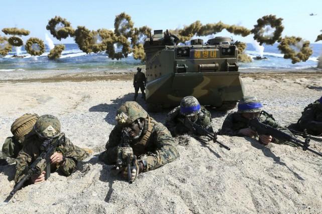 Depuis le début des manoeuvres américano-sud-coréennes, qui sont... (PHOTO KIM JUN-BUM, AP)