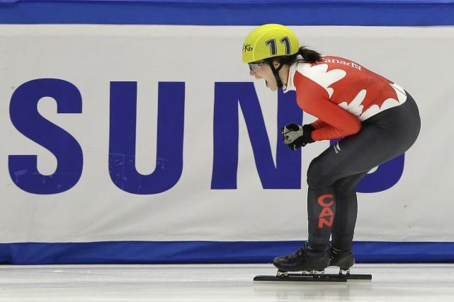 Marianne Saint-Gelais célèbre après sa victoire.... (Photo AP)