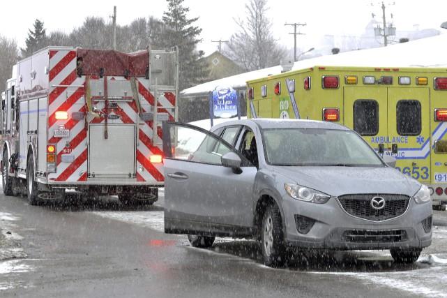 L'accident a fait quatre blessés.... (Photo Le Progrès-Dimanche, Rocket Lavoie)